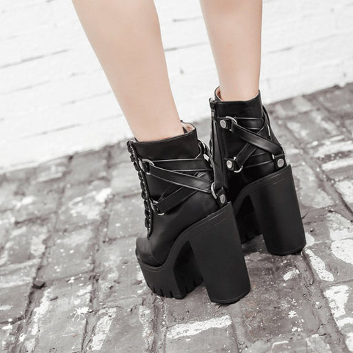 Black and Gothic Ankle High Platform Boots-Boots N Bags Heaven