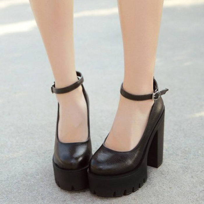 Chic and Gothic High Heeled Platform Pumps-Boots N Bags Heaven