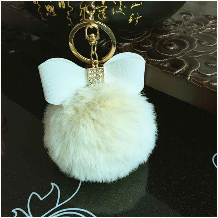 Furry Pompom and Bejewelled Bow Keychain-Boots N Bags Heaven