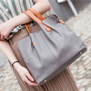Genuine Leather Pastel Shoulder Bag - Genuine Leather Luxury Compact Shoulder Bag
