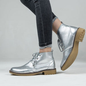 Genuine Leather Vibrant Lace Ankle Boots - Genuine Leather Silver Metallic Lace Ankle Boots
