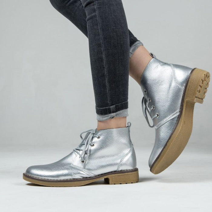 Genuine Leather Silver Metallic Lace Ankle Boots-Boots N Bags Heaven