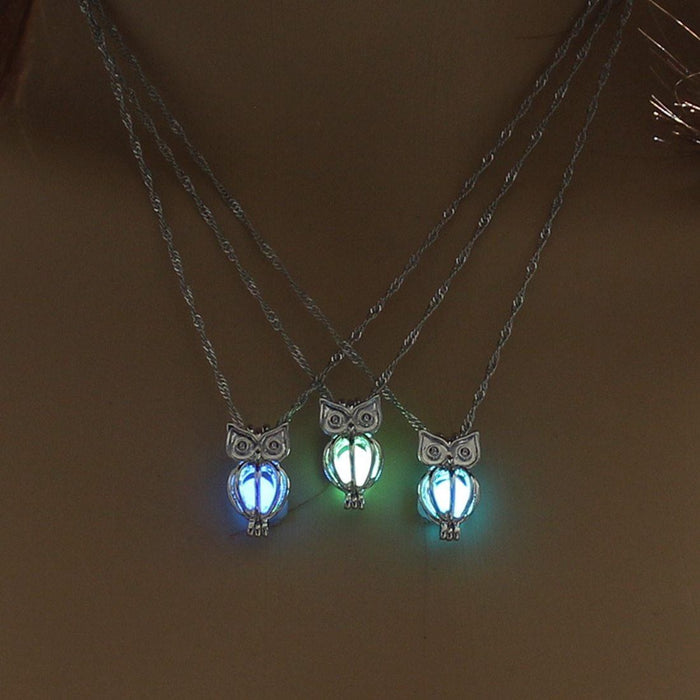 Glow in the Dark Wise Owl Charm Necklace-Boots N Bags Heaven