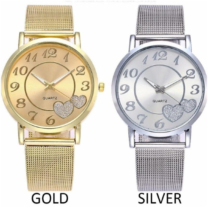 Gold and Silver Heart Design Analog Wristwatch-Boots N Bags Heaven