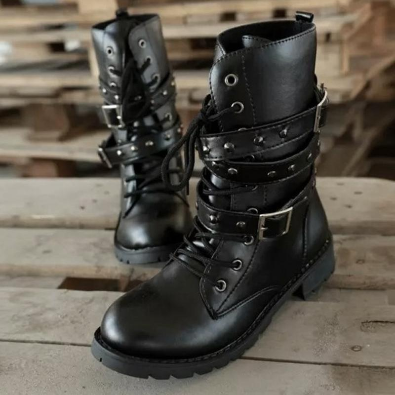 Gothic Boots Lace Up Belts Gothic Boots