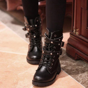 Gothic Boots - Lace-Up Belts Gothic Boots