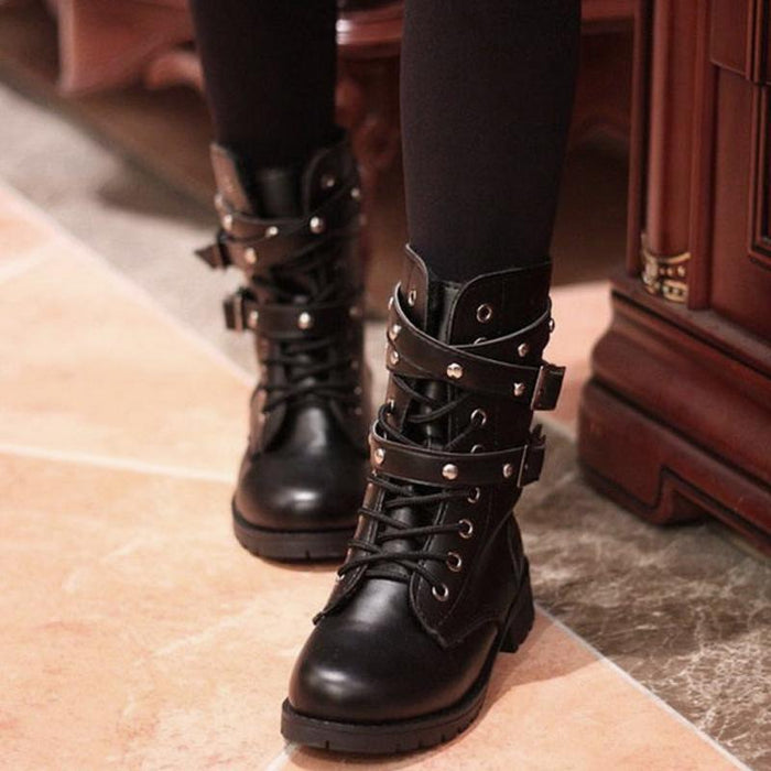 Lace-Up Belts Gothic Boots-Boots N Bags Heaven