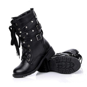 Gothic Boots - Low Heel Black Gothic Boots