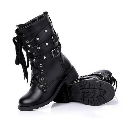 Low Heel Black Gothic Boots-Boots N Bags Heaven