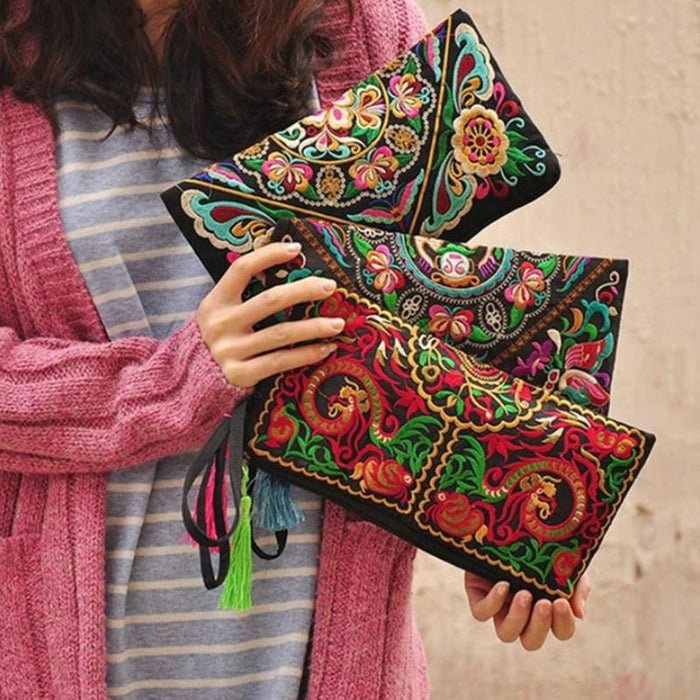 Retro and Ethnic Embroidered Flower Handbags with Tassel-Boots N Bags Heaven