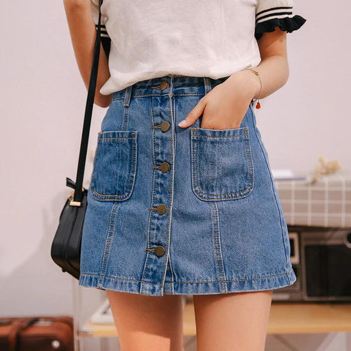 High Waist Denim Skirt - High Waist Denim Skirt