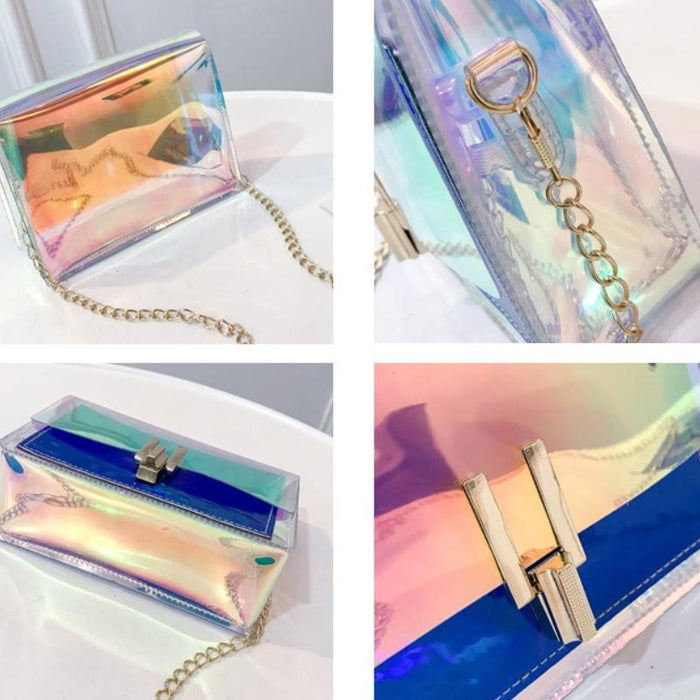 Holographic Transparent Messenger Fashion Bag - Holographic Transparent Messenger Fashion Bag