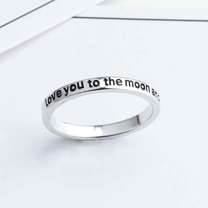 I love you to the moon and back sterling silver ring-Boots N Bags Heaven