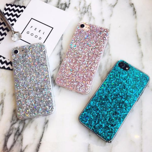 Silicon Crystal Sequins Soft Case for iPhone Devices-Boots N Bags Heaven