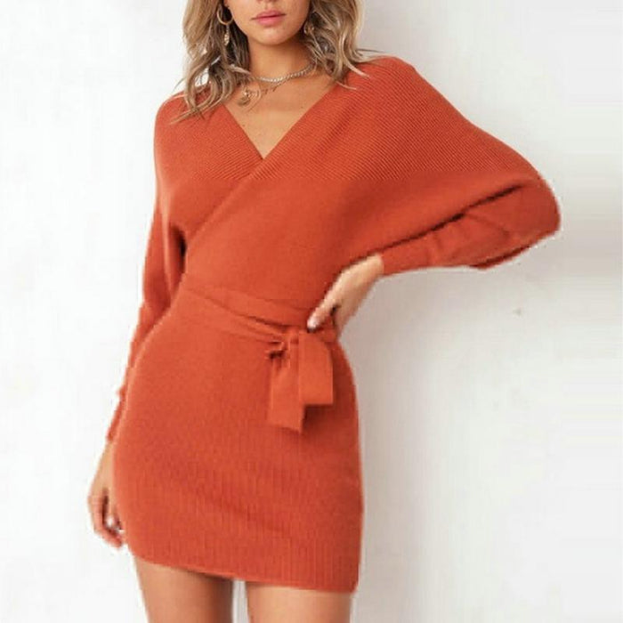 Jenny - Chic Long Sleeved Winter Sweater Dress-Boots N Bags Heaven
