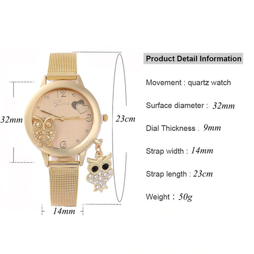 Jewelries Elegant Owl Wristwatch With Charm - Elegant Owl Wristwatch With Charm