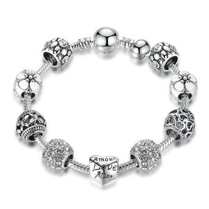 Jewelry Bracelet Silver Chain Bracelet With Love And Flower Charms - Silver Chain Bracelet With Love And Flower Charms