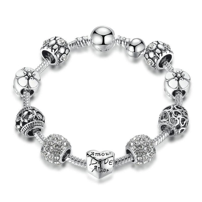 Silver Chain Bracelet with Love and Flower Charms-Boots N Bags Heaven