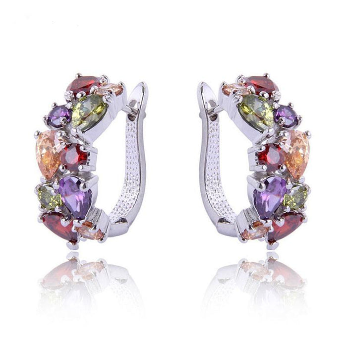 Elegant and Luxurious Zirconia Crystal Hoop Earrings-Boots N Bags Heaven