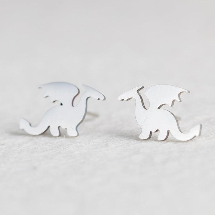 Hypoallergenic Silver Minimalist Cute and Unique Stud Earrings-Boots N Bags Heaven