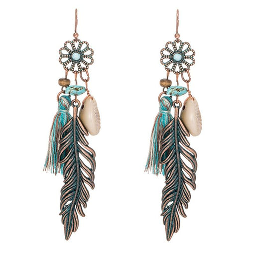 Long Drop Bohemian Ethnic Earrings with Tassel-Boots N Bags Heaven