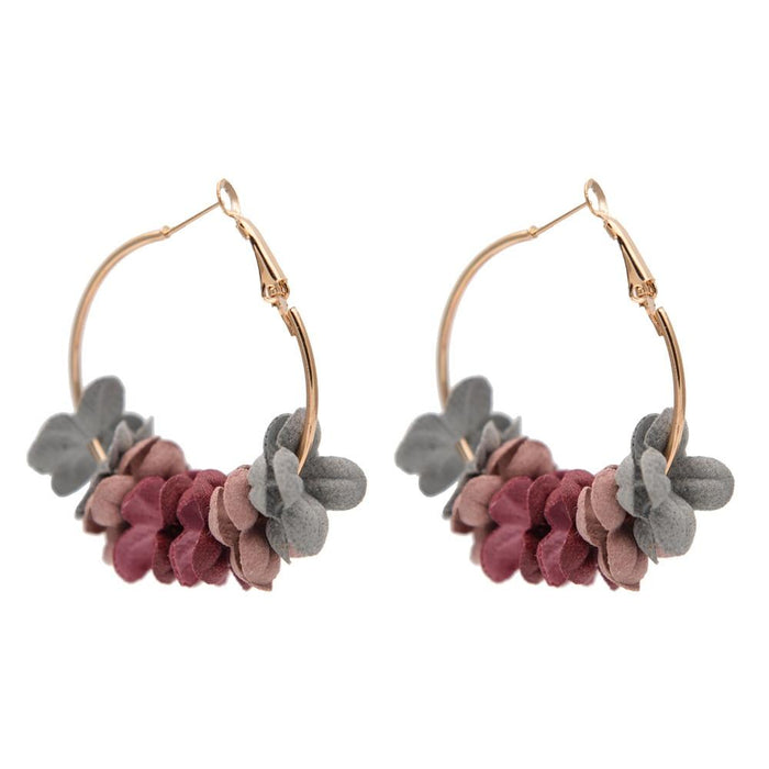 Round Fancy Flower Petals Earrings-Boots N Bags Heaven