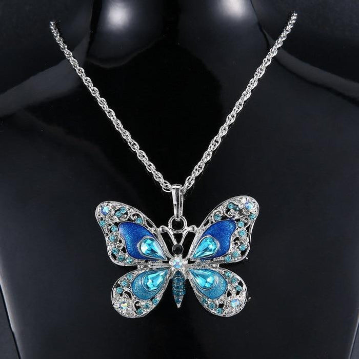 Beautiful Rhinestone Butterfly Necklace-Boots N Bags Heaven