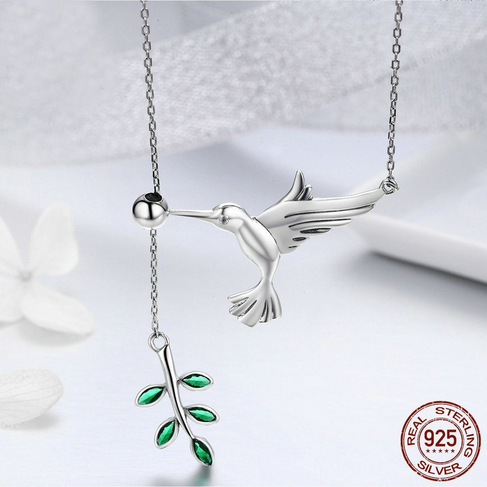 Jewelry Necklace Sterling Silver Hummingbird Greeting Tree Leaves Necklace - Sterling Silver Hummingbird Greeting Tree Leaves Necklace