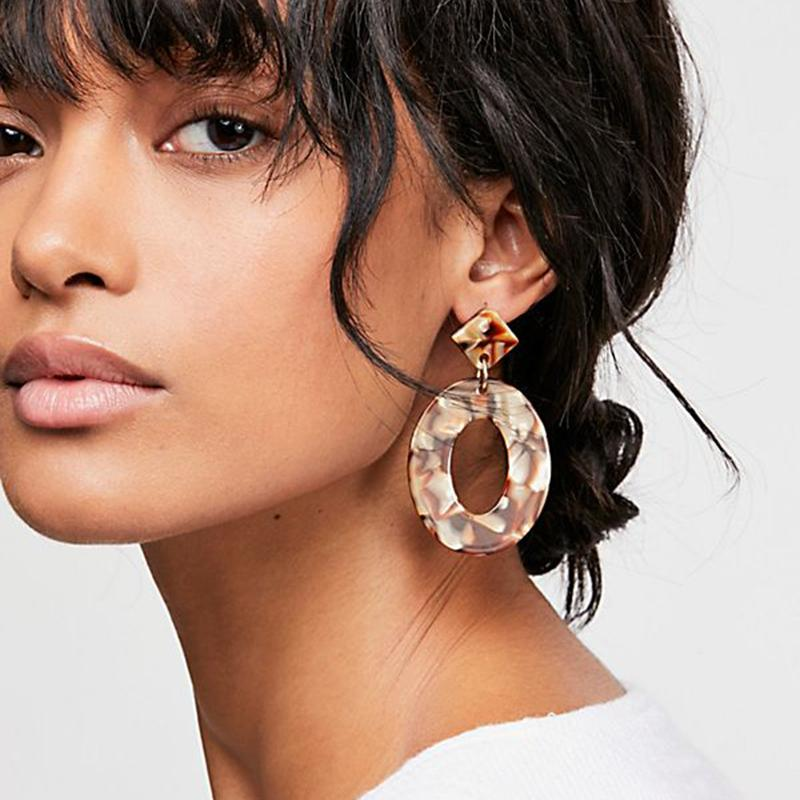 Stunning Oval Geometric Dangling Earrings-Boots N Bags Heaven