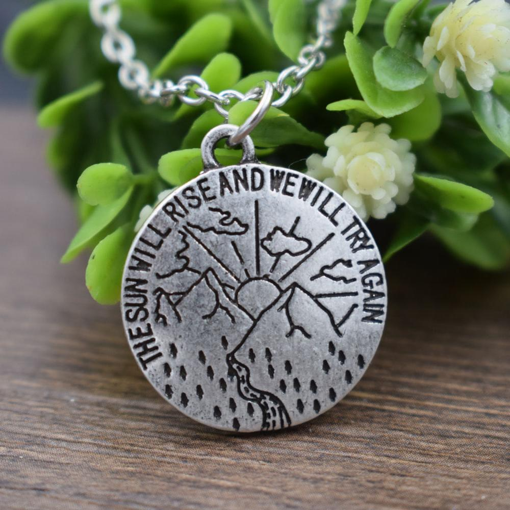 The Sun Will Rise and We Will Try Again Motivational Necklace-Boots N Bags Heaven