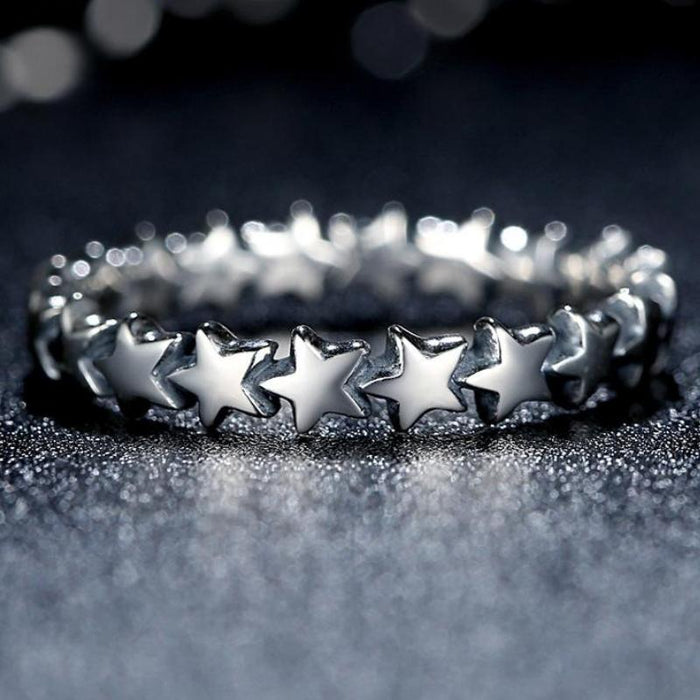 Cute and Adorable Sterling Silver Star Trail Ring-Boots N Bags Heaven