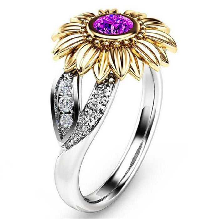 Stunning Zirconia Sunflower with Crystal Ring-Boots N Bags Heaven