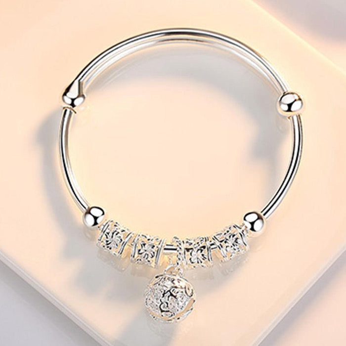 Jewelry Sterling Silver Floral Ball Charm Bangle Bracelet - Sterling Silver Floral Ball Charm Bangle Bracelet