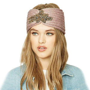 Knitted Beaded Luxury Turban - Knitted Beaded Floral Turban