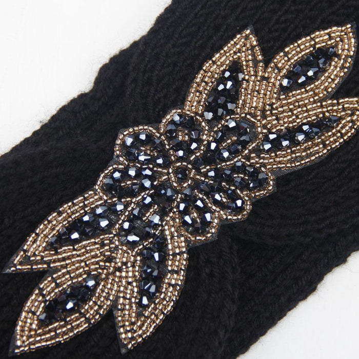 Knitted Beaded Floral Turban-Boots N Bags Heaven