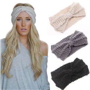 Knitted Headband Winter Knitted Bow Turban - Winter Knitted Bow Turban