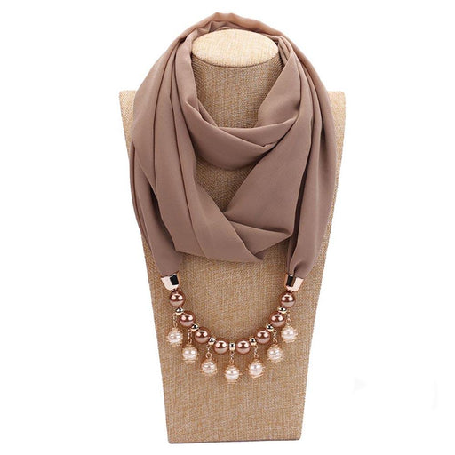Lady Fashion Pearl Pendant Scarf Necklace - Chic And Classy Chiffon Scarf With Necklace