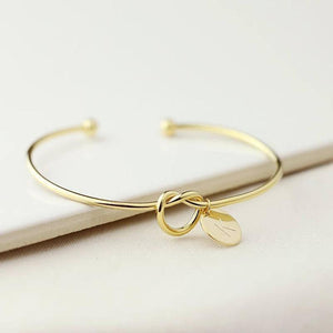 Letter Charm Bangle Bracelet - Personalized Letter Charm Bangle Bracelet