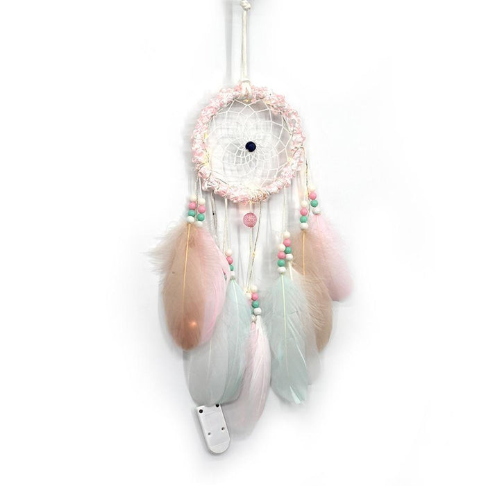 Light Up Feather And Lace Dream Catcher - Light Up Feather And Lace Dream Catcher