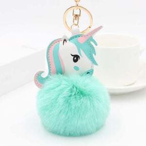 Majestic Fluffy Unicorn Pompom Keychain - Majestic Fluffy Colorful Unicorn Pompom Keychain