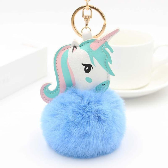 Majestic Fluffy Colorful Unicorn Pompom Keychain-Boots N Bags Heaven