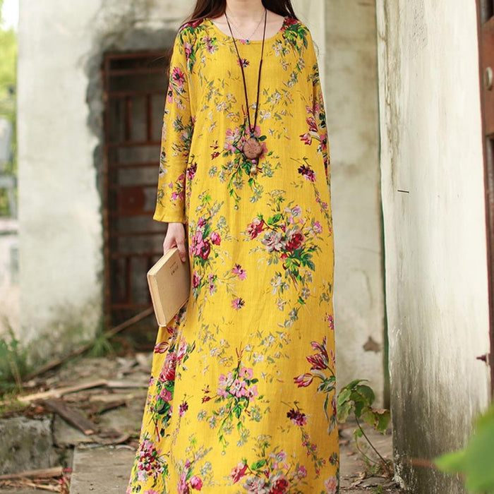 Fiona - Maxi Long Sleeve Floral Print Dress-Boots N Bags Heaven