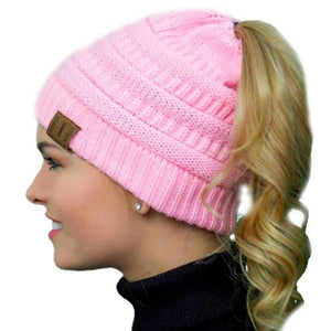 Messy Bun Knitted Ponytail Hat Winter Beanie - Ponytail Messy Bun Beanie Knitted Winter Hat - BNB Beanietail