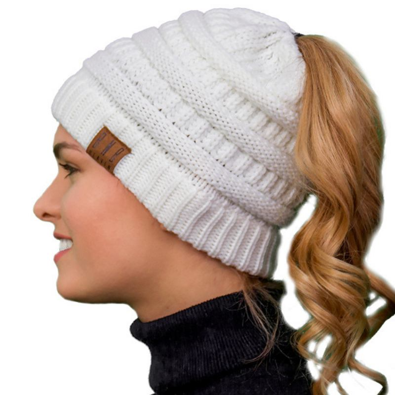 6ef166ee39a29 Messy Bun Knitted Ponytail Hat Winter Beanie - Ponytail Messy Bun Beanie  Knitted Winter Hat -