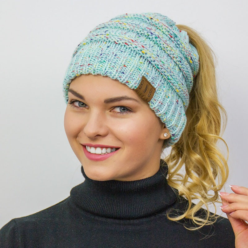 132112fc82e Messy Bun Knitted Ponytail Hat Winter Beanie - Ponytail Messy Bun Beanie  Knitted Winter Hat -