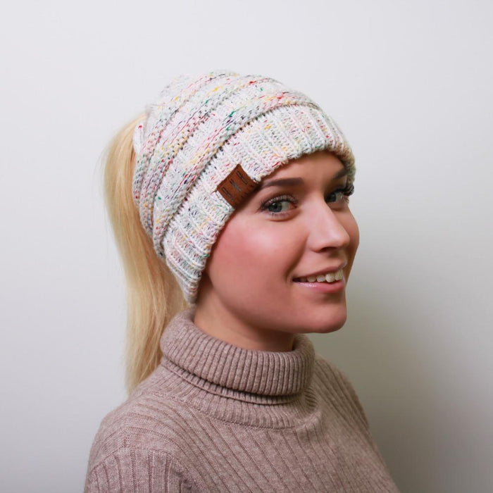 Ponytail Messy Bun Beanie Knitted Winter Hat - BNB Beanietail-Boots N Bags Heaven