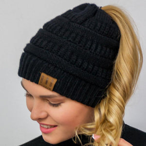 Messy Bun Knitted Ponytail Hat Winter Beanie - Ponytail Messy Bun Beanie Knitted Winter Hat - The Beanietail