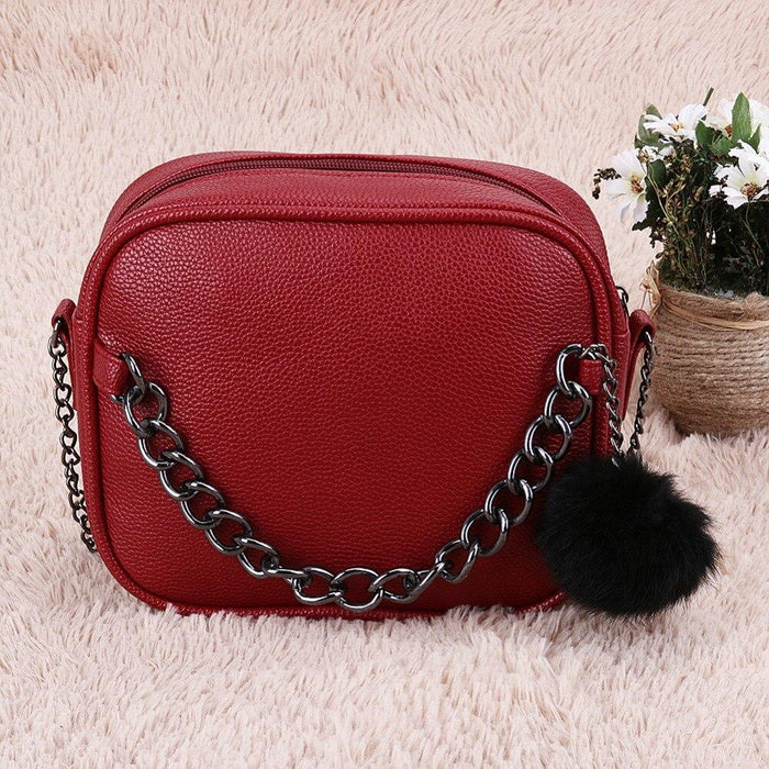 Metal Chain Messenger Bag With Pompom Keychain - Metal Chain Messenger Bag With Pompom Keychain