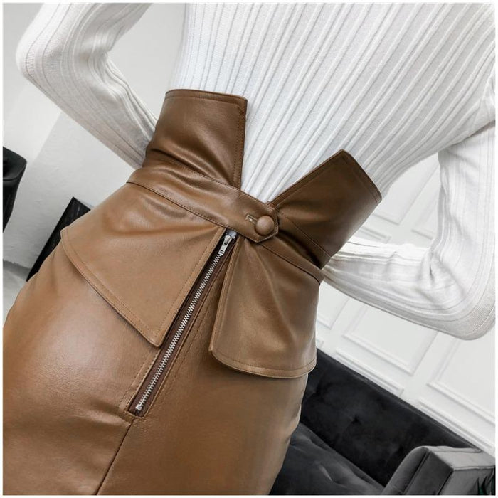 Mia - PU Leather Pencil Mini Skirt-Boots N Bags Heaven