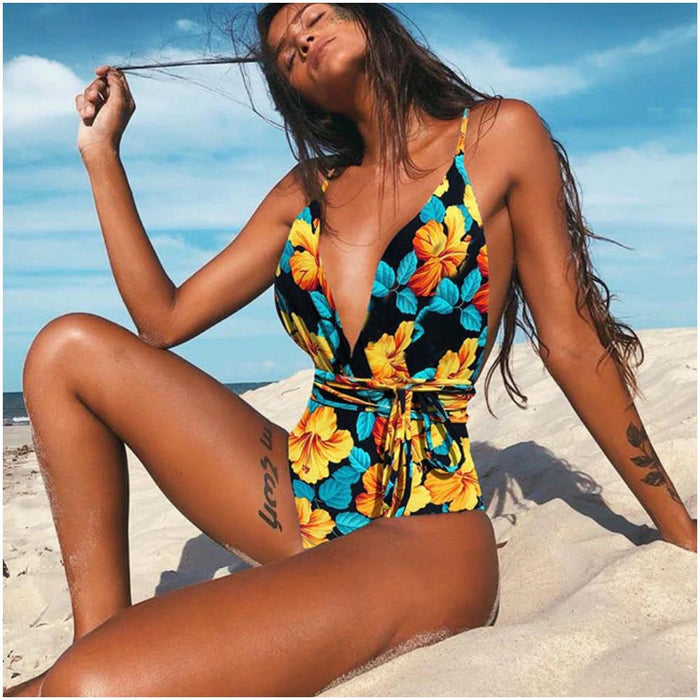 Multi-Strap Style One Piece Swimsuit-Boots N Bags Heaven
